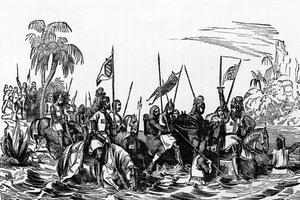 Chevaliers de l'ordre du Temple traversant une rivière -gravure du 19e siècle.