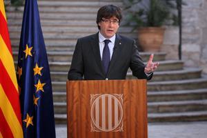 Carles Puigdemont lors de son allocution.