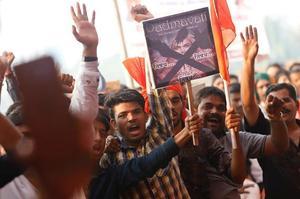 Des manifestants opposés au film à Bombay (20 novembre 2017)