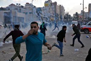 Des manifestants palestiniens à Beit El.