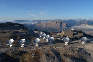 L'interféromètre NOEMA sur le plateau de Bure, dans les Alpes françaises.