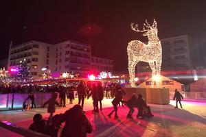 Un renne de 8,50 mètres trône au centre de la patinoire.