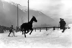 Autour des Jeux Olympiques d'hiver de 1924 à Chamonix: ski joëring.