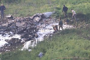Les restes du F-16 qui s'est écrasé.