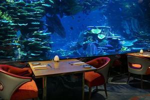 L'aquarium circulaire central plonge l'endroit dans une atmosphère pour un dîner gastronomique intime.