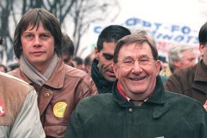 Bernard Thibault et Louis Viannet, dirigeants emblématiques de la CGT.