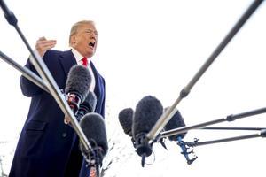 Donald Trump lors de sa prise de la parole à la Maison-Blanche, le 13 mars 2018.