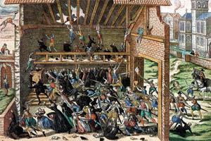 Le massacre de Wassy (en Haute-Marne) le 1er mars 1562: des protestants sont tués par une escorte du duc de Guise, pendant une cérémonie religieuse.