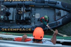 Les scientifiques de Greenpeace au large des côtes brésiliennes.
