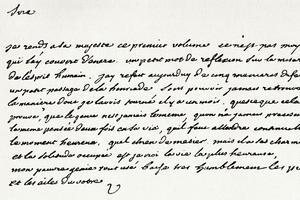 Lettre écrite par Voltaire au souverain Frédéric II de Prusse.
