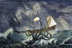 Le monstre marin attaquant un navire, gravure du 19e siècle / Rue des archives.