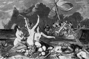 Ulysse et les sirènes, gravure anglaise du 19e siècle / Rue des archives