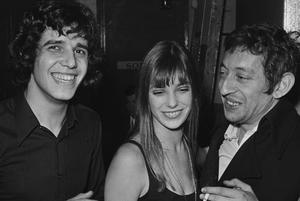 Julien Clerc encompagnie deJaneBirkin et deSerge Gainsbourg, le20février 1969 àl'Olympia.