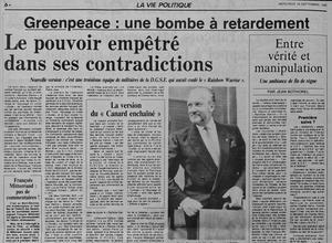 Une du Figaro du 18 septembre 1985: selon Le Monde c'est une troisième équipe de militaires de la D.G.S.E qui aurait coulé le bateau de Greenpeace.