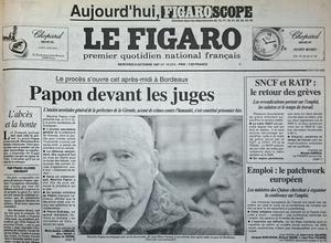Une du «Figaro» du 8 octobre 1997: premier jour du procès de Maurice Papon à Bordeaux.