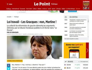 Copie-écran de la tribune publiée dans <i>Le Point</i>, ce jeudi, par Les Gracques.