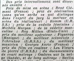 Le palmarès paraît dans «Le Figaro» du 8 octobre 1946.