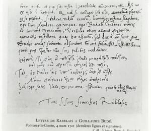Lettre de François Rabelais à Guillaume Budé datée du 4 Mars 1521.