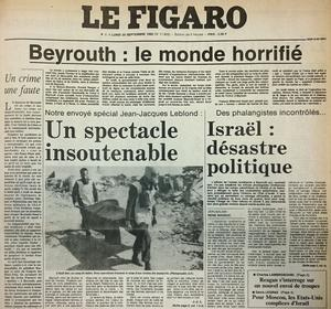 Extrait de la Une du Figaro du 20 septembre 1982.