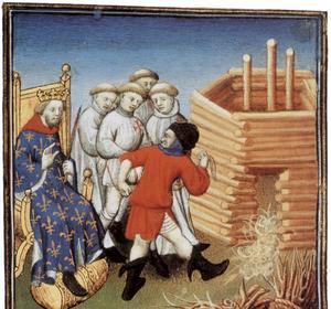 Enluminure figurant l'exécution de templiers en présence du roi de France Philippe le bel.