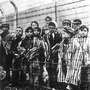 Enfants derrière des barbelés dans le camp de concentration d'Auschwitz Birkenau. Photo prise en 1943 par les SS.