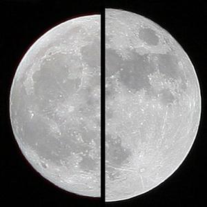 A droite, la «spuer-lune» de mars 2011 vue depuis la Terre, comparée à une lune «moyenne» de décembre 2010. Photos Images by Marco Langbroek, the Netherlands, montage Marcoaliaslama/sous licence C. C.