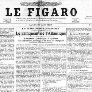 La Une du «Figaro» du 23 mai 1927. Crédit: RetroNews-BnF.