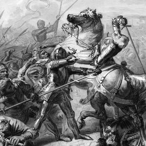 Gravure figurant la mort du chef anglais John Talbot lors de la bataille de Castillon le 17 juillet 1453, pendant la guerre de Cent Ans.