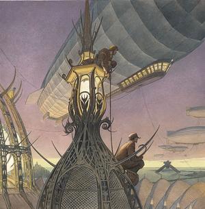 <i>Les Naufrageurs</i>, affichede François Schuiten pour lefestivalÉtonnants Voyageurs deSaint-Malo(2005).