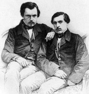Les frères Edmond et Jules de Goncourt vers 1850.