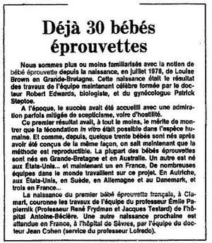 Encadré paru dans <i>Le Figaro</i> du 25 février 1982.