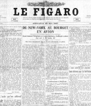 La Une du «Figaro» du 22 mai 1927. Crédit: RetroNews-BnF.