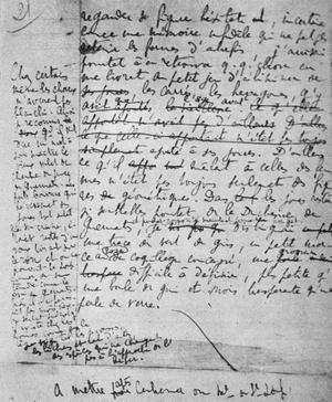 Page manuscrite de Le temps retrouvé de Marcel Proust.