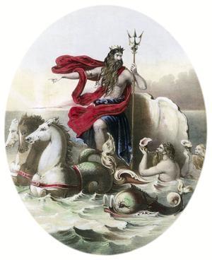 Poséidon avec son trident sur son char marin tire par des hippocampes / Rue des archives