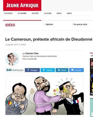 La caricature de Jeune Afrique.
