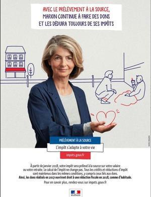 Une des affiches de la campagne insiste sur le maintien des réductions d'impôts pour les dons aux œuvres.