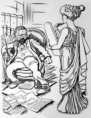 Caricature du romancier Émile Zola (1840-1902) et la postérité, dessin de la revue hebdomadaire «Psst...!» de mai 1898.
