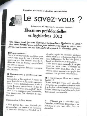 Cette affiche avait été accrochée dans les établissements pénitentiaires en vue des élections de 2012. DR