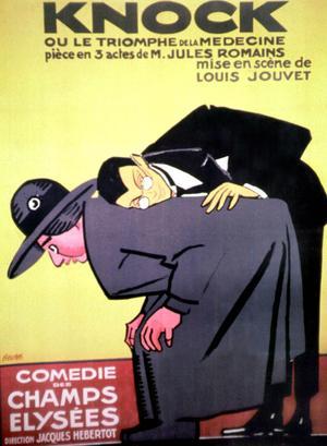 Affiche de la pièce «Knock» de Jules Romains donnée à la Comédie des Champs-Élysées en décembre 1923.