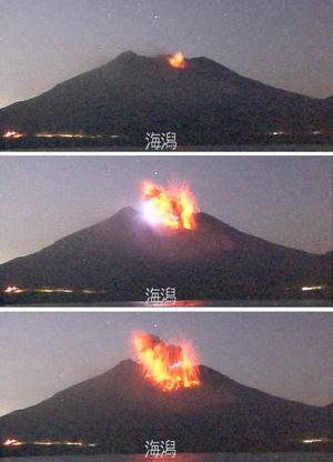 Eruption du volcan Sakurajima