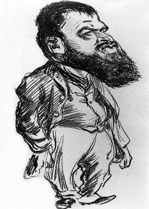 L'auteur Tristan Bernard caricaturé par Charles Léandre.