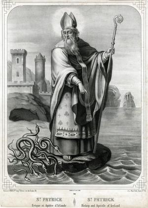Saint Patrick chassant les serpents avec son bâton.