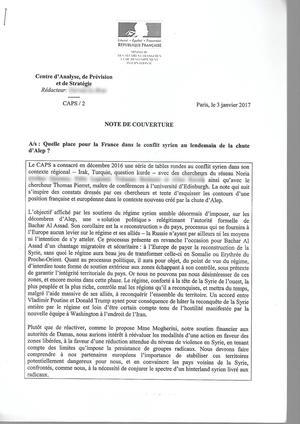 La note du CAP du Quai d'Orsay, <i>Quelle place pour la France dans le conflit syrien au lendemain de la chute d'Alep?</i>