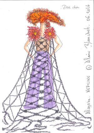 Alain Blanchot, dessin de l'un des costumes pour «Alcione».