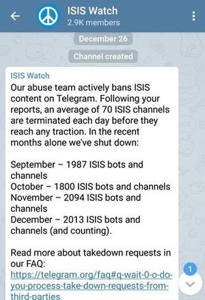 Le canal de discussion ISIS Watch, sur Telegram.
