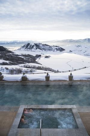 Soins avec vue sur les cîmes du Wyoming (Etats-Unis), à l'hôtel Amanagani.
