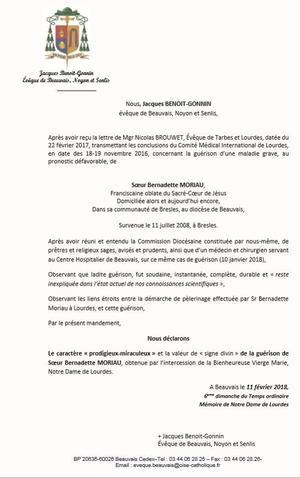Le mandement officiel reconnaissant le caractère «prodigieux-miraculeux» de la guérison de Soeur Bernadette Moriau.