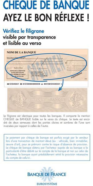 La Banque de France, consciente des fraudes, livre de précieuses indications sur la détection des faux chèques de banque.