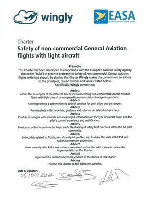 La charte de l'EASA, signée par Wingly. Source: Wingly