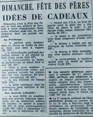 Des idées cadeaux proposées dans <i>Le Figaro </i>du 15 juin 1962.